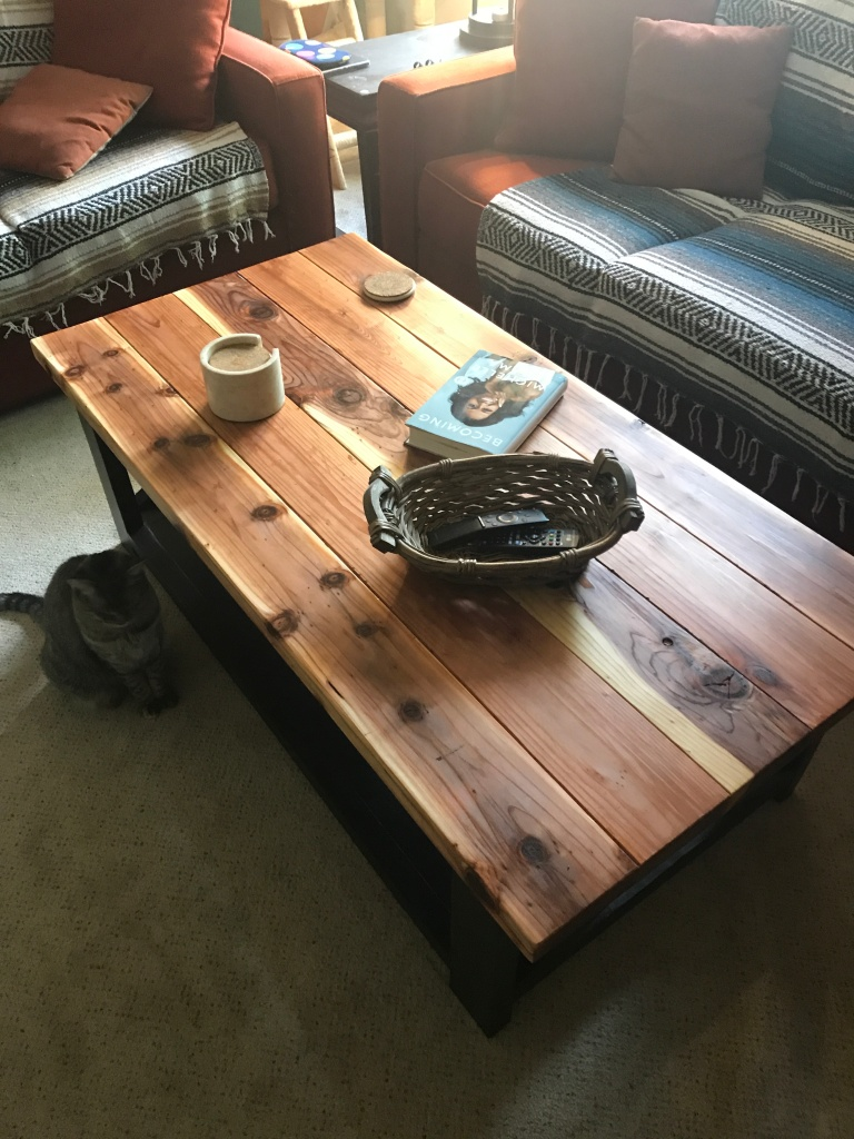 coffee table with items on top