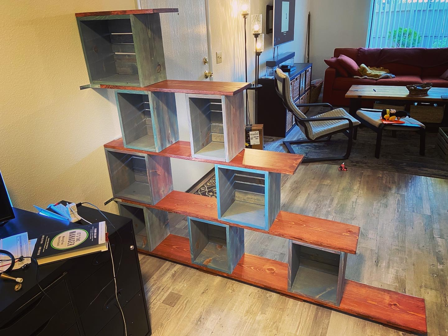 room divider with open shelves