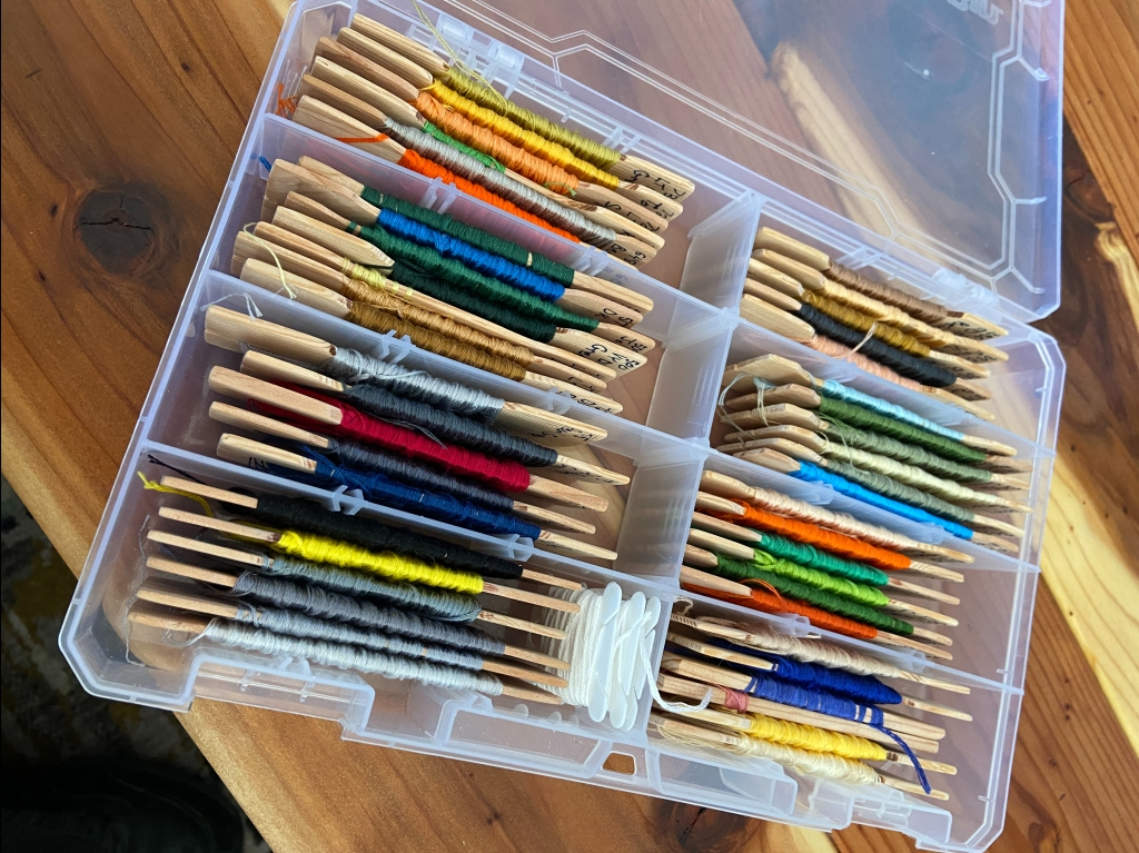 wooden thread cards in a box