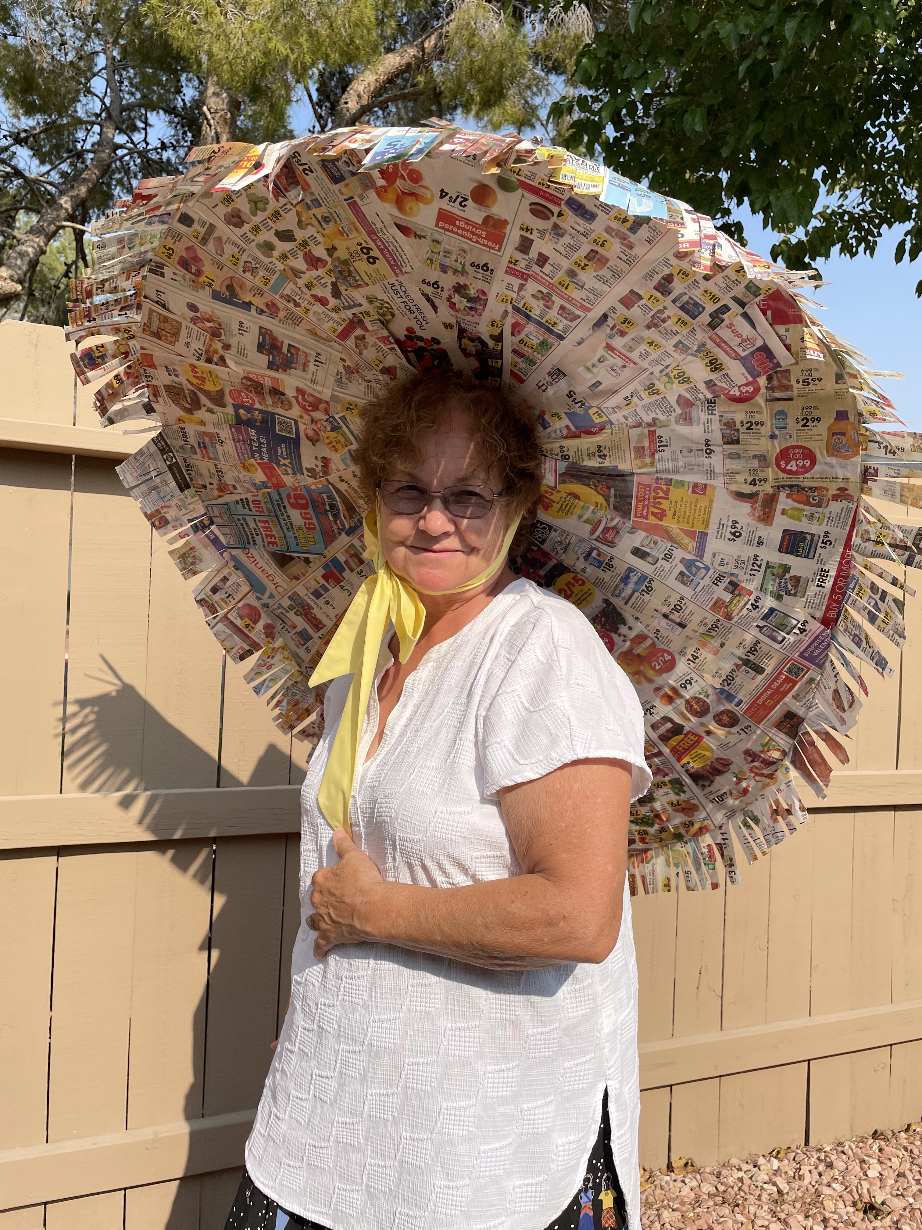 DeLyle displaying her sun hat